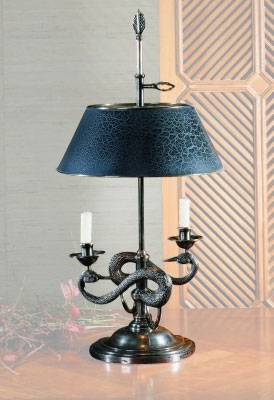 Traditional Double Arm Table Lamp With Sculptured Swan Motif