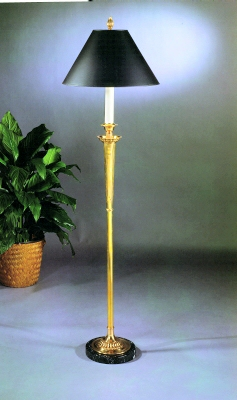 Floor lamp with reeded motif chapman manufacturing for Reeded brass floor lamp